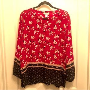 LOFT Red Black Long Sleeve Tunic Large